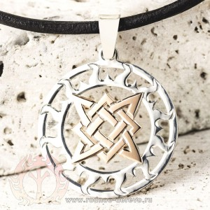 Оберег Звезда Руси (Квадрат Сварога) из серебра и золота